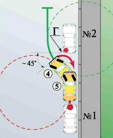 Параллельная парковка задним ходом.  Переход на второй круг и выход на прямую.